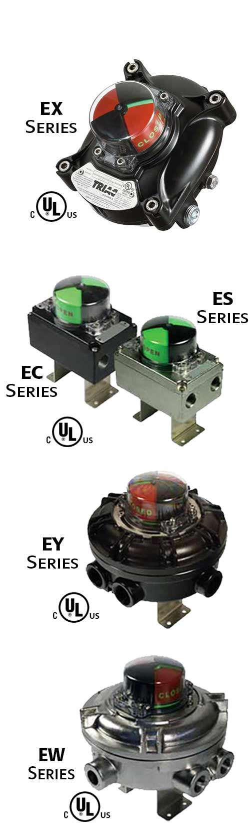 EX, EC, ES, EY, EW Series: UL Listed Limit Switches